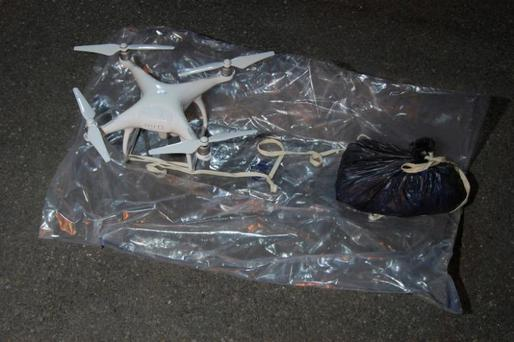 A drone intercepted by police as it was being flown near a north London prison is seen in this handout photograph released on August 22, 2016, in London, Britain. Metropolitan Police/Handout via REUTERS