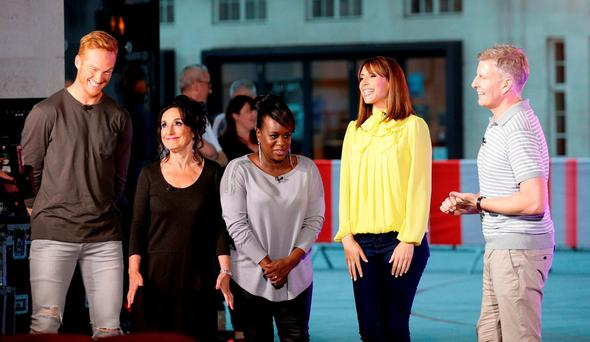 The One Show hosts Alex Jones (second right) and Patrick Kielty (right) with Greg Rutherford (left), Lesley Joseph (second left) and Tameka Empson (centre) outside BBC Broadcasting House in London after it was confirmed that they will be a contestants on Strictly Come Dancing, which returns in September. Photo: Yui Mok/PA Wire
