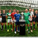 Players, from left, LLoyd Williams of Cardiff Blues, Tommy Bowe of Ulster, Dan Lydiate of Ospreys, Alessandro Zanni of Benneton Treviso, Billy Holland of Munster, Isa Nacewa of Leinster, John Muldoon of Connacht, George Biagi of Zebre, Jonny Gray of Glasgow Warriors, Lewis Evans of Newport Gwent Dragons, Stuart McInally of Edinburgh and Ken Owen of Scarlets in attendance at the launch of the Guinness PRO12 2016/17 Championship at the Aviva Stadium in Dublin. Photo by Sam Barnes/Sportsfile