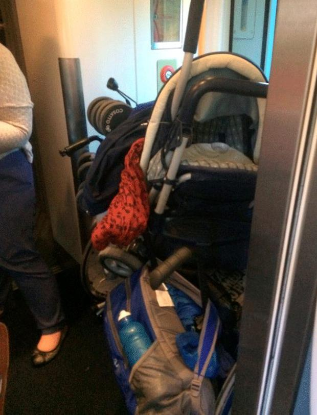 The wheelchairs crammed into the the corridors of the train