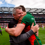 Stephen Rochford – here congratulating Lee Keegan – and his Mayo team are enjoying a lucky streak they haven't seen in a while. Photo by Piaras Ó Mídheach/Sportsfile