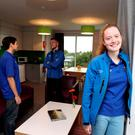Pictured at the opening of the student residences at Ashfield on UCD's Belfield campus were students Matt Goins, Dylan Quinn McMahon and Jessica McHugh. Photo: Jason Clarke