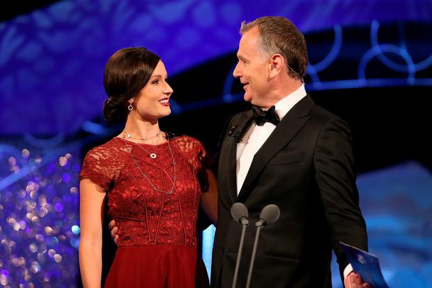 Daithi Ó Se pictured with Chicage Rose Maggie McEldowney on stage during the Rose of Tralee at the Dome in Tralee. Photo : Frank Mc Grath