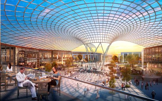 An artist's impression of the proposed extension at Dublin's Liffey Valley, which includes a new plaza with a curved roof and an Olympic-sized rink that can host ice hockey matches