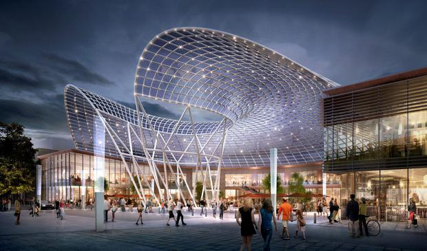 Artists impression of new plaza with a curved roof