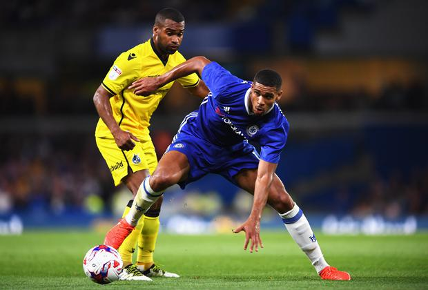 Ruben Loftus-Cheek is closed down by Jermaine Easter (Photo by Darren Walsh/Chelsea FC via Getty Images)