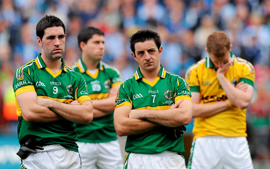Kerry players Bryan Sheehan, left, and Aidan O'Mahony after defeat against Dublin in 2011