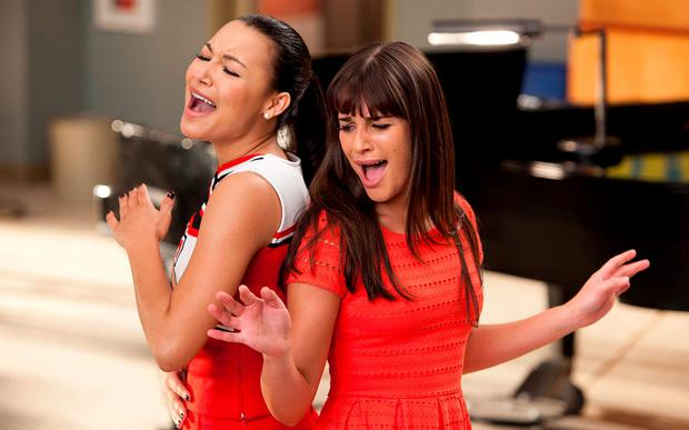 Naya Rivera, pictured with Lea Michele, on Glee