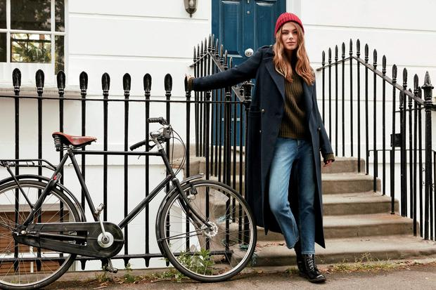 Coat €40, Knit €18, Jeans €17, Boots €19, Hat €2.50 at Penneys