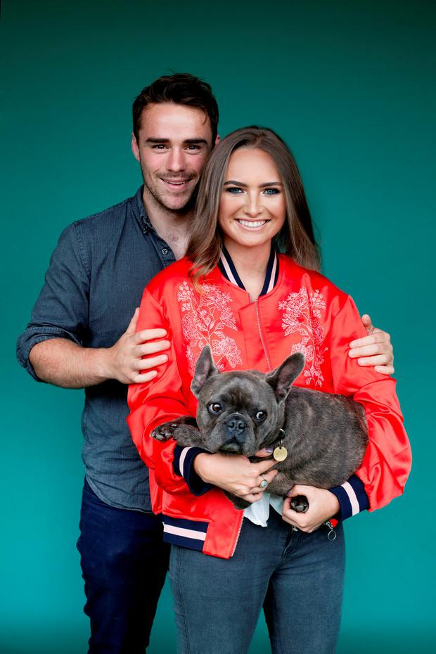 Loves of her life: Indy Power with her dog Arnold and fiancé Tom