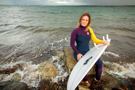 Surfer Shauna Ward on Mullaghmore Beach, Co. Sligo. Photo: James Connolly