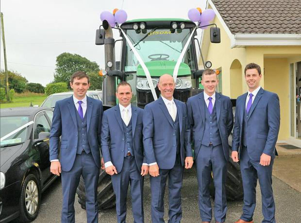 James pictured with his groomsmen ahead of his wedding to Stacey