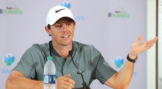FARMINGDALE, NY - AUGUST 24: Rory McIlroy of Northern Ireland speaks to the media during the pro-am as a preview for The Barclays in the PGA Tour FedExCup Play-Offs on the Black Course at Bethpage State Park on August 24, 2016 in Farmongdale, New York. (Photo by David Cannon/Getty Images)