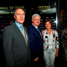 Kerry legend John O'Keeffe with President Aogán Ó Fearghail and Mary Earley, wife of the late Dermot Earley, at the GAA's Hall of Fame in Croke Park. Photo: Matt Browne/Sportsfile