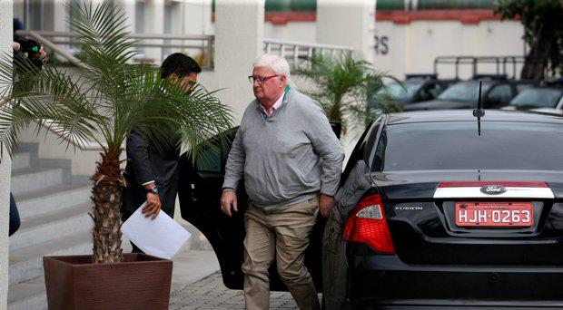 Dermot Henihan, OCI Secretary General, arriving at police station in Rio, Brazil on 23/08/16