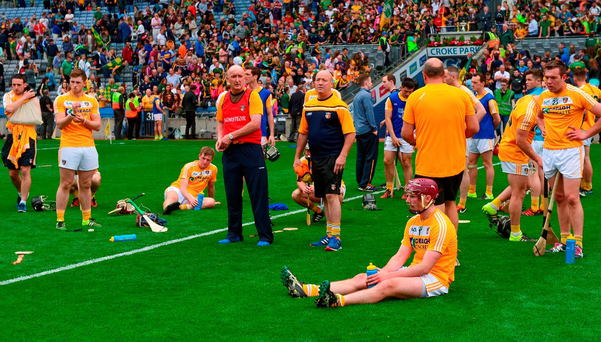 Antrim players react after their defeat against Meath in the Christy Ring final. Photo: Piaras Ó Mídheach/Sportsfile
