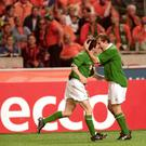 2 Sep 2000: Robbie Keane (left) and Jason McAteer (right) of Republic of Ireland celebrate during the World Cup 2002 Group 2 Qualifying match against Holland played at the Amsterdam ArenA, in Amsterdam, Holland. The match ended in a 2-2 draw. \ MandatoryCredit: Mark Thompson /Allsport