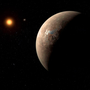 An artist's impression of Proxima b orbiting the red dwarf star Proxima Centauri Photo: Reuters Photo: ESO/M. Kornmesser/Handout via Reuters