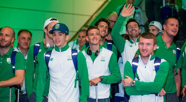 Members of the Irish Olympic team arrive home from Brazil at Dublin Airport. Photo: Arthur Carron