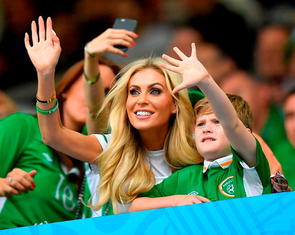 His wife Claudia and son Robert watch him in action at Euro 2016 Photo: Stephen McCarthy / Sportsfile