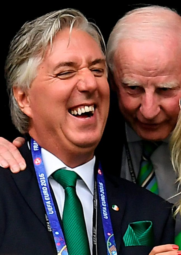 John Delaney and Pat Hickey at the Ireland-Sweden match at Euro 2016 Photo: Stephen McCarthy / Sportsfile