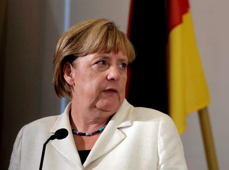German Chancellor Angela Merkel speaks during a news conference in Tallinn, Estonia yesterday Picture: Reuters