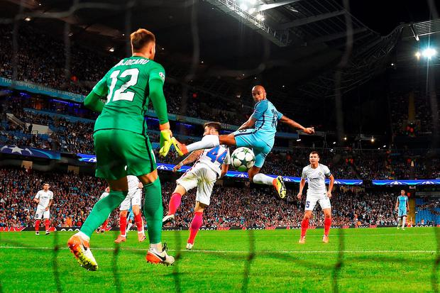 Fabian Delph scores the opening goal past Valentin Cojocaru of Steaua Bucharest (Photo by Michael Regan/Getty Images)