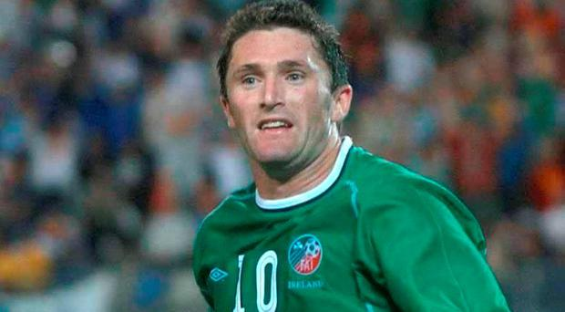5 June 2002; Robbie Keane celebrates after scoring his equalising goal against Germany in 2002 Picture: David Maher / SPORTSFILE
