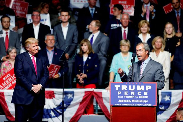 Nigel Farage, ex-leader of the British UKIP party, speaks as Republican presidential candidate Donald Trump