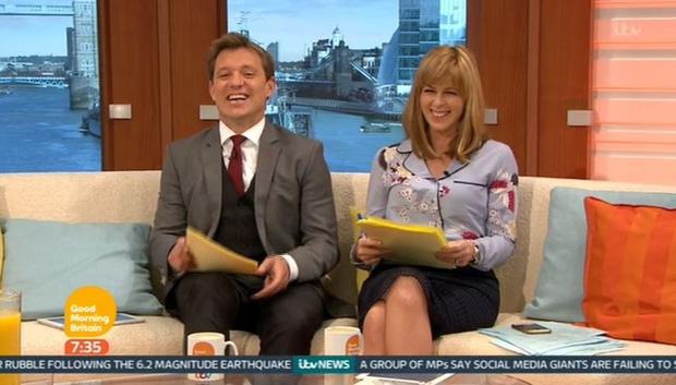 Kate Garraway's blouse sparked a massive reaction on Twitter. Photo: Good Morning Britain / ITV