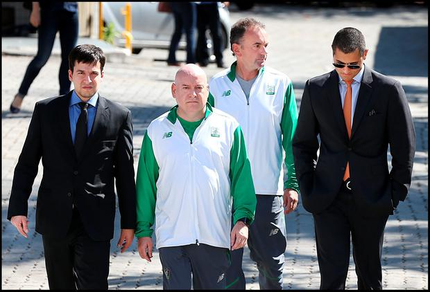 Stephen Martin Olympic Council of Ireland Chief Ececutive (right) and Kevin Kilty OCI Chef de Mission (left) arriving to give a deposition at Police City in Rio de Janeiro. Pic Steve Humphreys