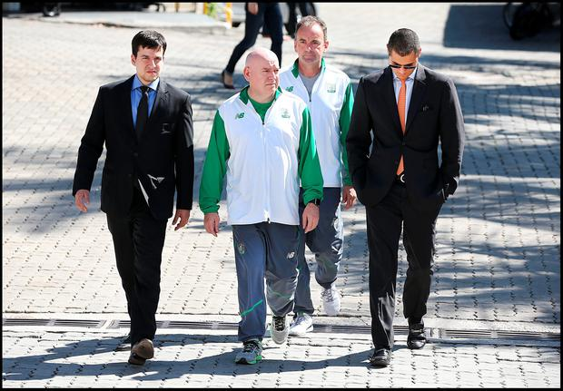 Stephen Martin Olympic Council of Ireland Chief Executive (right) and Kevin Kilty OCI Chef de Mission (left) arriving to give a deposition at Police City in Rio de Janeiro. Pic Steve Humphreys