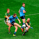 Kieran Donaghy blocks a shot from Dean Rock during the Allianz NFL League final between Dublin and Kerry. Photo: Sportsfile