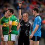 Kerry's Aidan O'Mahony (left) is shown a red card by referee Eddie Kinsella for a foul on Jonny Cooper during the Allianz Football League Division 1 Final Croke Park last April. Photo: Sportsfile