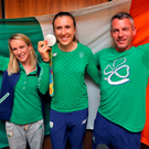 Olympic Silver rowing medal winner, Annalise Murphy arriving home from Rio with her coach, Rory Fitzpatrick and her sports psychologist, Kate Kirby Photo: Colin Keegan, Collins