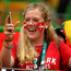 A Denmark supporter celebrates after they beat France in the Olympic Handball final Photo: Marko Djurica