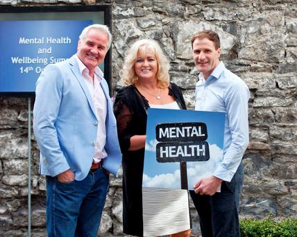 Brent Pope, Sallyanne Clarke and Gerry Hussey at the launch of the first ever 'Mental Health and Wellbeing Summit' in Ireland Photo: Paul Sherwood