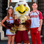 Boston College cheerleaders Elizabeth Pehota and Matthew Keemon with mascot Baldwin Photo: Brendan Moran / SPORTSFILE