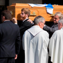 The coffin is carried from St Joseph and St Benildus Church in Waterford after the funeral Mass for Milo Corcoran Photo: Patrick Browne