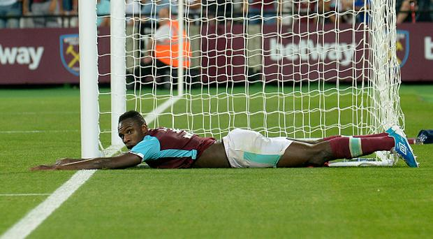 LONDON, ENGLAND - AUGUST 27: Michail Antonio of West Ham United in action during the UEFA Europa Play-Off Second leg match between West Ham United and FC Astra Giurgiu at London Stadium on August 25, 2016 in London, England. (Photo by Avril Husband/West Ham United via Getty Images)