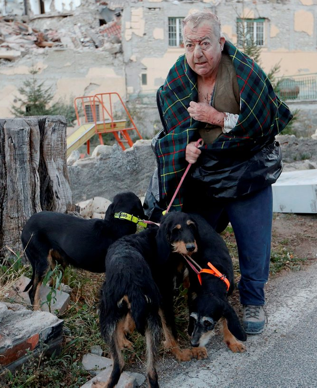 A survivor, his face covered in dust, walks away from the rubble after being reunited with his dogs Photo: REUTERS/Remo Casilli