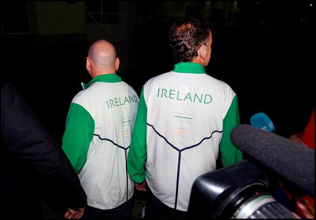 Stephen Martin and Kevin Kilty after meeting with police in Rio. Picture Steve Humphreys