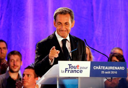 Nicolas Sarkozy, former head of the Les Republicains political party and a former French president, attends his first political rally since declaring his intention to run in 2017 for president, in Chateaurenard, France, August 25, 2016