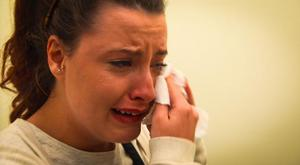 Zoe Pewter breaks down when she sees her wedding dress on Don't Tell The Bride. Photo: Sky One