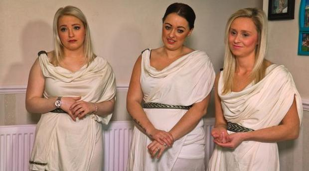 Zoe's bridesmaid await her reaction when she sees her wedding dress for the first time on Don't Tell The Bride. Photo: Sky One