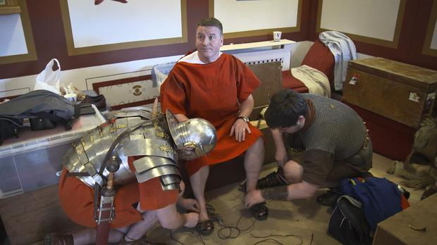 Matthew and Zoe's dad get ready for his Roman Empire wedding on Don't Tell The Bride. Photo: Sky One