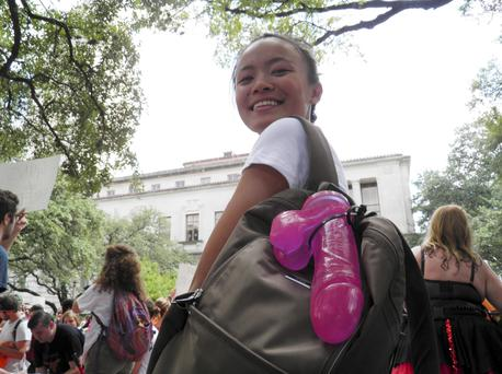 Jessica Jin, leader of the protests called Cocks not Glocks, is seen at a protest against a state law that allows for guns in classrooms at college campuses, in Austin, Texas, U.S. August 24, 2016. , in Austin, Texas, U.S. August 24, 2016