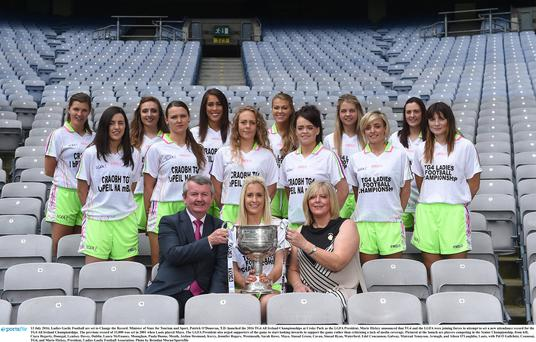 13 July 2016; Pictured at the launch are players competing in the Senior Championship, from left, Ciara Hegarty, Donegal, Lyndsey Davey, Dublin, Laura McEnaney, Monaghan, Paula Dunne, Meath, Aislinn Desmond, Kerry, Jennifer Rogers, Westmeath, Sarah Rowe, Mayo, Sinead Green, Cavan, Sinead Ryan, Waterford, Edel Concannon, Galway, Mairead Tennyson, Armagh, and Aileen O'Loughlin, Laois, with Pól Ó Gallchóir, Ceannsaí, TG4, and Marie Hickey, President, Ladies Gaelic Football Association. Photo by Brendan Moran/Sportsfile