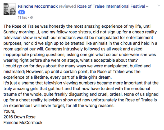 2016 Down Rose Fainche McCormack's Facebook post