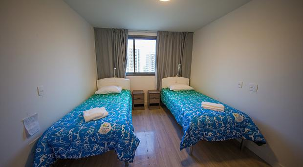 RIO DE JANEIRO, BRAZIL - JULY 23: A bedroom of one of the units within the Olympic and Paralympic Village for the 2016 Rio Olympic Games. The Village will host up to 17,200 people amongst athletes and team officials during the Games and up to 6,000 during the Paralympic Games on July 22, 2016 in Rio de Janeiro, Brazil. (Photo by Buda Mendes/Getty Images)